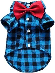 HOODDEAL Soft Casual Dog Plaid Shirts Blue and Black Gentle Dog Western Shirt Dog Clothes Dog Cotton Shirt + Dog Wedding Tie,Blue (Small)