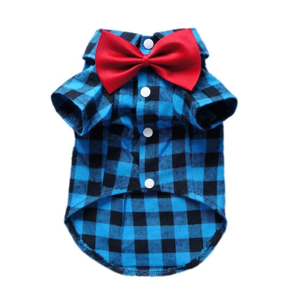 HOODDEAL Soft Casual Dog Red And Black Plaid Shirt Gentle Dog Western Shirt Dog Clothes Dog Cotton Shirt + Dog Wedding Tie,Blue (X-Large)