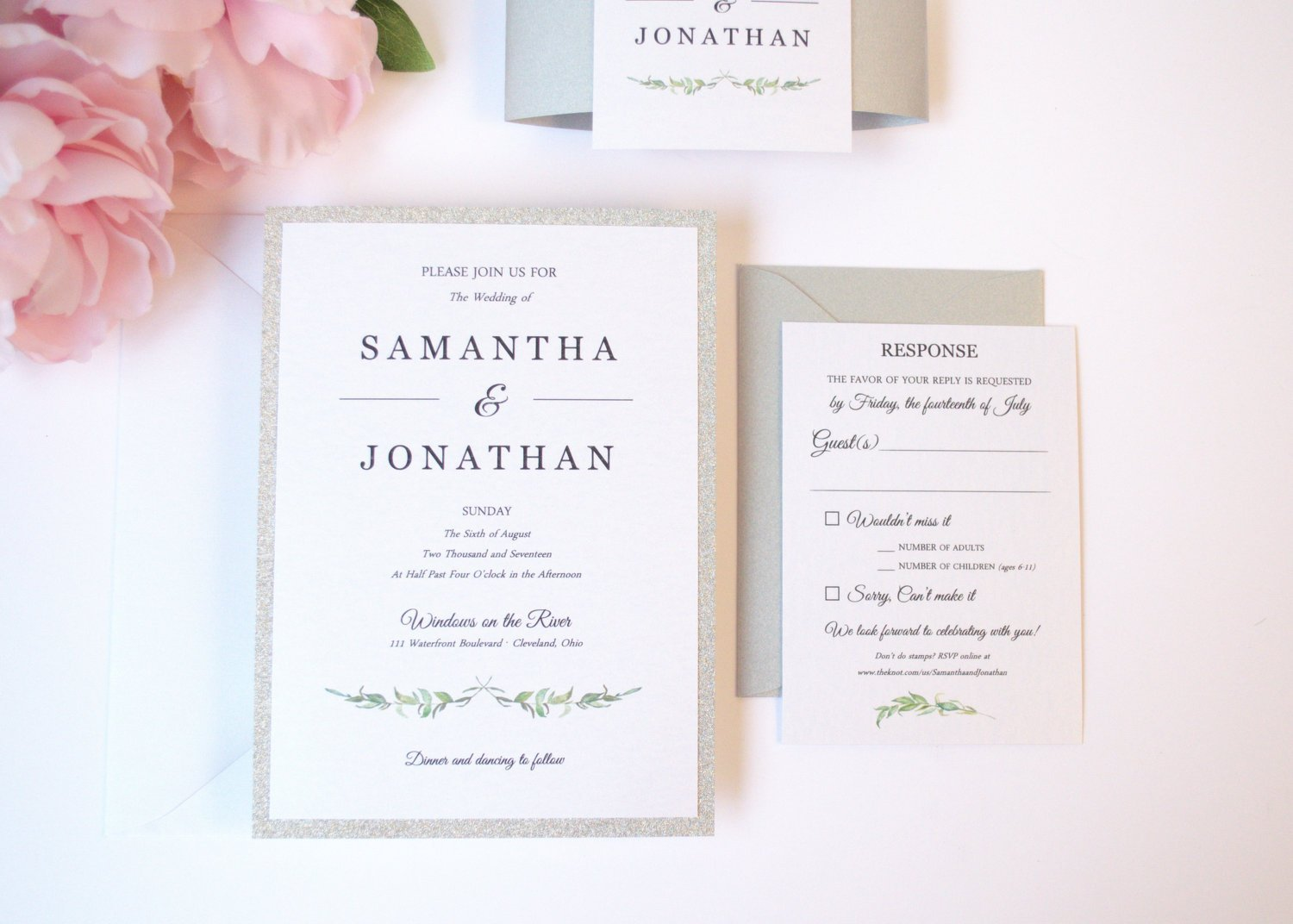 Amazon laurel leaves wedding invitation sample kit handmade monicamarmolfo Image collections