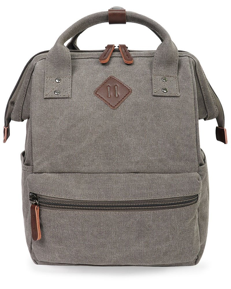Oflamn Doctor Style Canvas Multipurpose Casual Daypack Laptop Backpack Travel Bag for Men and Women (Grey)