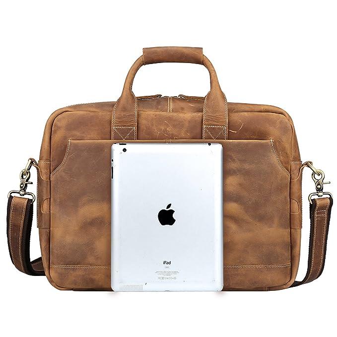 6a64755ac1 S-ZONE Sac Homme Vintage Cuir Véritable pour Ordinateur Portable 17 Pouces  Sac Messenger: Amazon.fr: High-tech