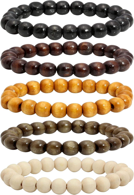 MILAKOO 5 Pcs Wooden Beaded Bracelet Bangle for Men and Women Elastic