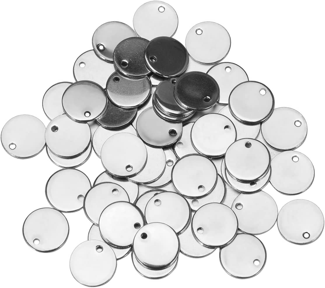10 Pcs Stainless Steel Silver Tone Blank Stamping Tags Circle Pendant Jewelry Findings Charm 1cm