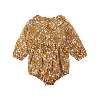 b7a328ba5c51 Amazon.com  Newborn Baby Girls Floral Print Long Sleeve Round Neck Vintage  Romper Infants Ruffles Jumpsuit  Clothing