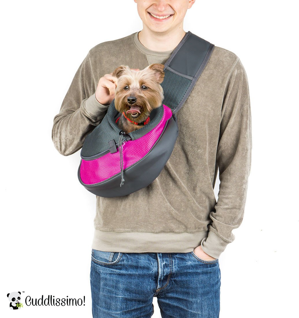 Pet Sling Carrier for Cats Dogs (Pink) by Cuddlissimo!