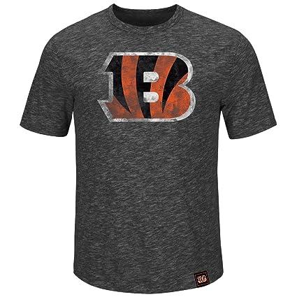 5eca64627 Majestic Cincinnati Bengals Mens Hyper Logo Charcoal Slub Short Sleeve T  Shirt (Large)