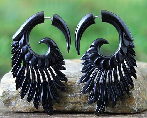 Hand Carved Bull Horn Faux Gauge Earrings - Handmade Fake Gauge Organic Jewelry