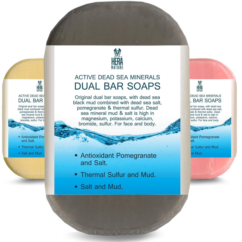 DEAD SEA Salt/Mud SOAP, Antioxidant pomegranate/salt, Thermal sulfur/mud - Dual sided bar soaps for restorative, gentle cleansing and Moisturizing, sensitive skin- therapeutic -3 PK/3.2 Ounc