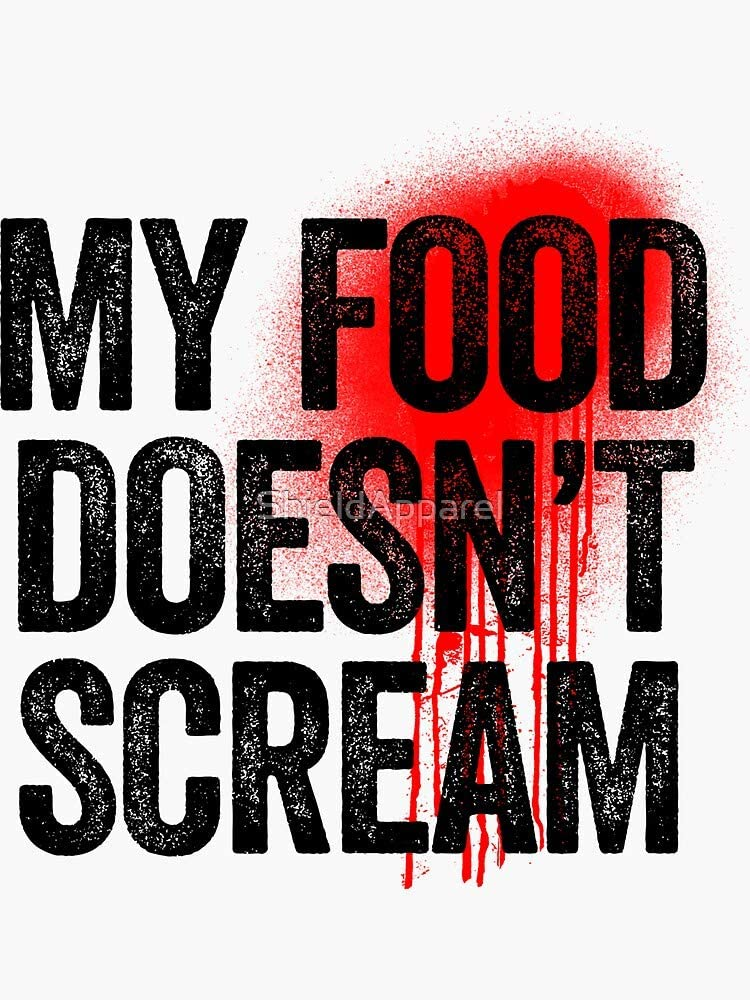 My Food Doesn't Scream - Great for Vegan Food Lover Sticker - Sticker Graphic - Auto, Wall, Laptop, Cell, Truck Sticker for Windows, Cars, Trucks