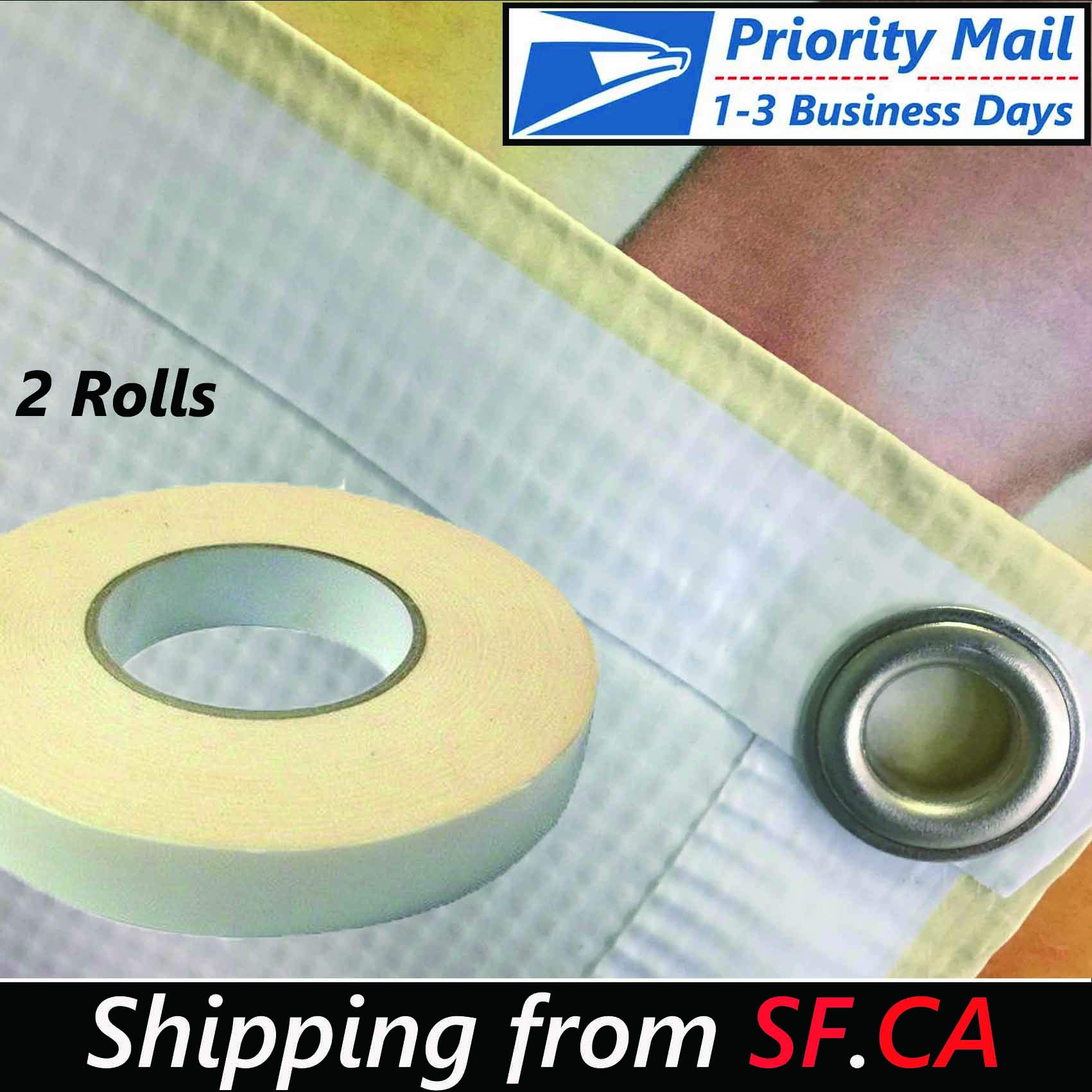 2 Rolls,1''x90ft,Heavy-Duty Double-Sided Vinyl Banner Hem Strong Scrim Tape 1''x30yds by Tiger-Hoo(Shipping from SF.CA USA)