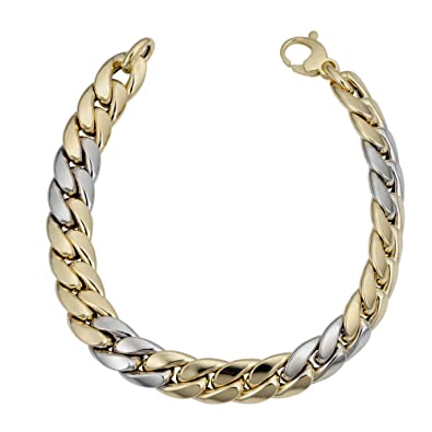 3e92cbe867066 14k Yellow And White Gold Miami Cuban Curb Hollow Link Mens Bracelet ...