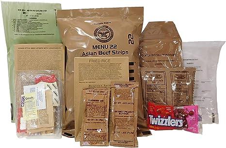 MRE (Meals Ready-to-Eat) – Racionamiento original de los combatientes de guerra de EE. UU.1 paquete de provisiones para militares de diferentes sabores de MRE.: Amazon.es: Bricolaje y herramientas