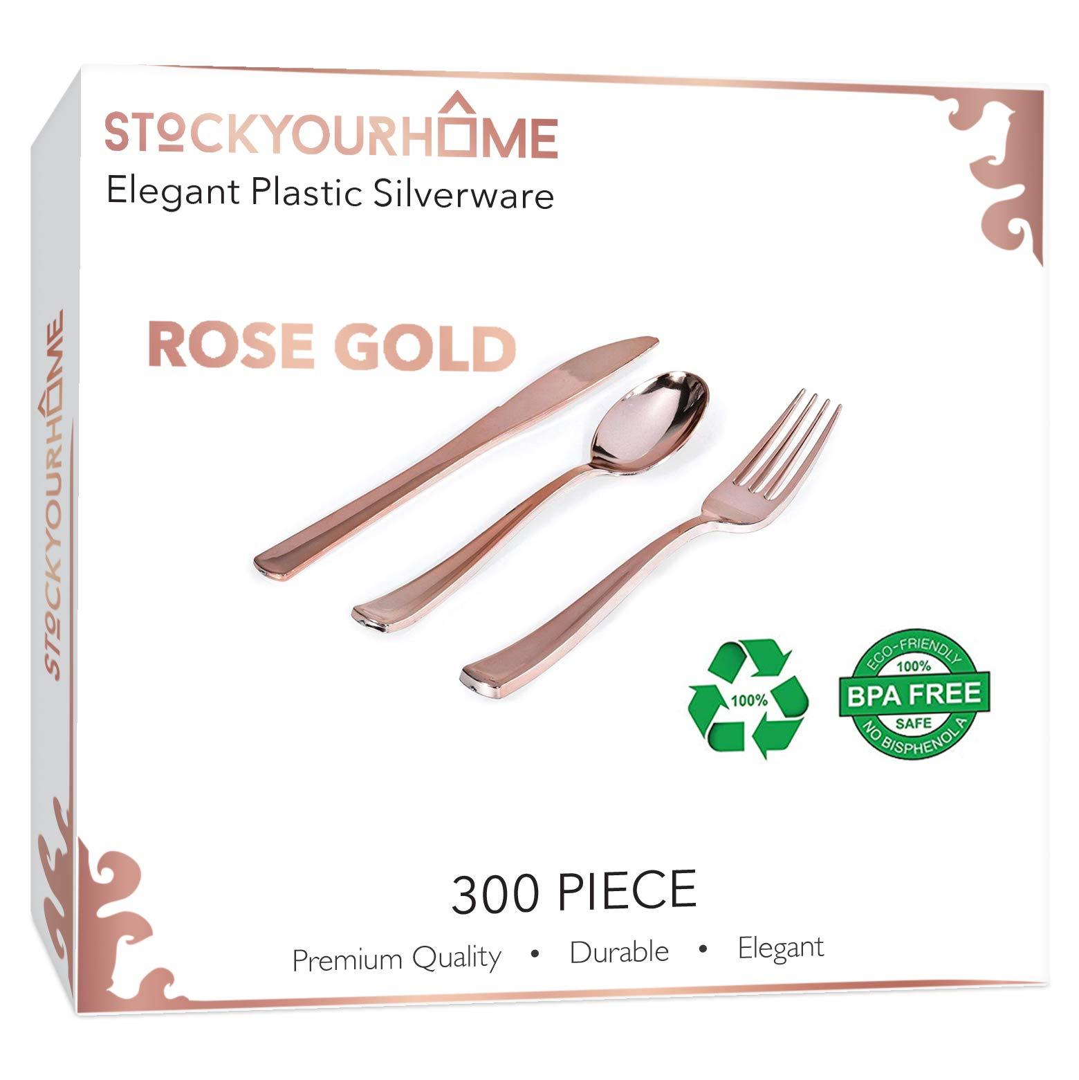 300 Rose Gold Plastic Silverware - Rose Gold Plastic Cutlery – Rose Gold Plastic Flatware – Rose Gold Utensils - 100 Rose Gold Plastic Forks, 100 Rose Gold Plastic Spoons, 100 Rose Gold Plastic Knives