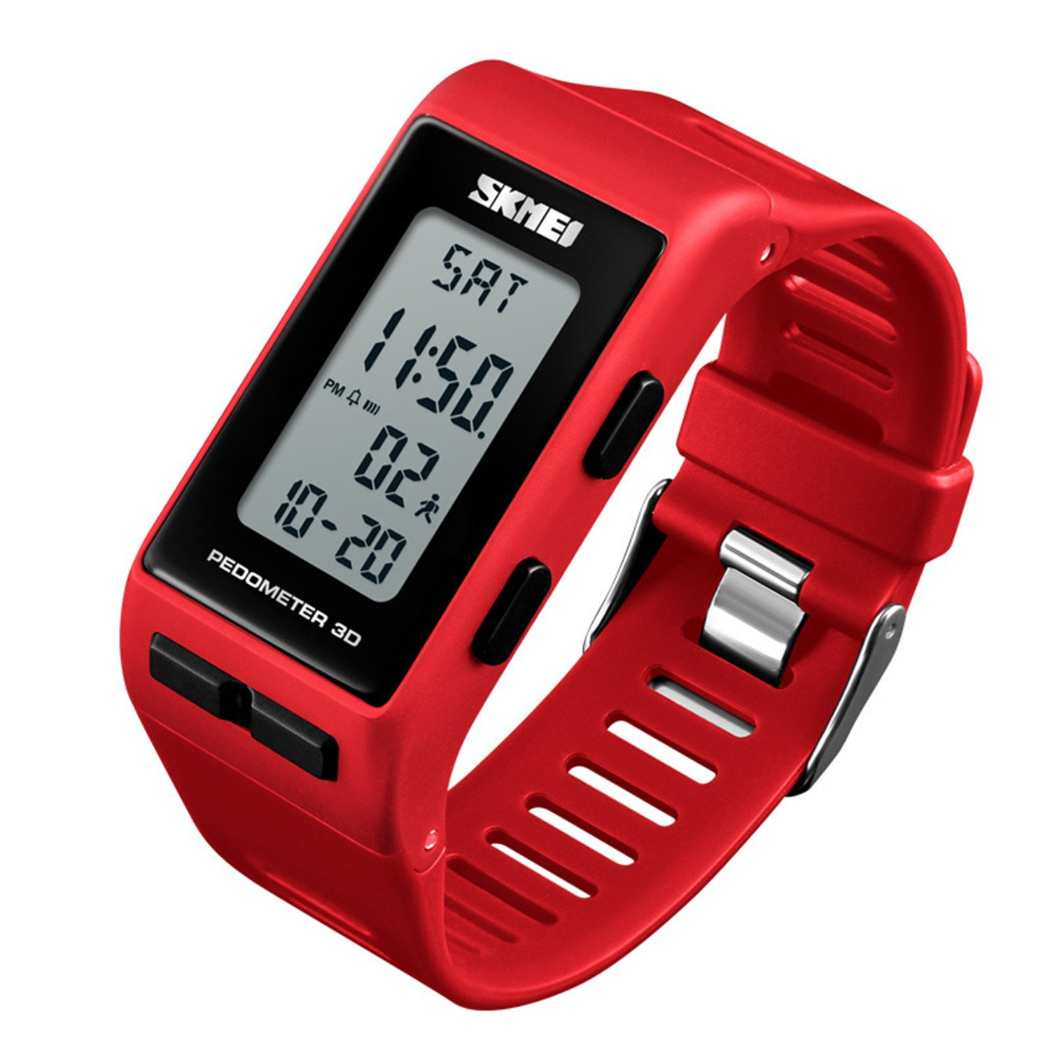 Women Mens Sports Watches Pedometer Calorie Digital Watch Waterproof LED Electronic Wrist Watch (Red)