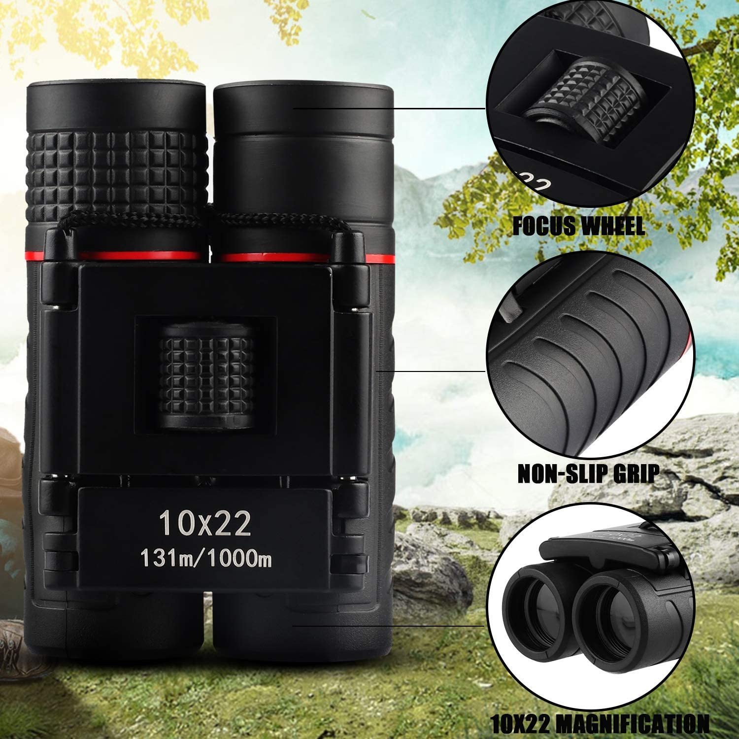 Travel Red Binoculars for Kids Adults,10x22 High-Resolution Real Optics Mini Compact Binocular Shockproof Folding Telescope for Outdoor Exploration Camping /& Best Gifts for Boys Girls
