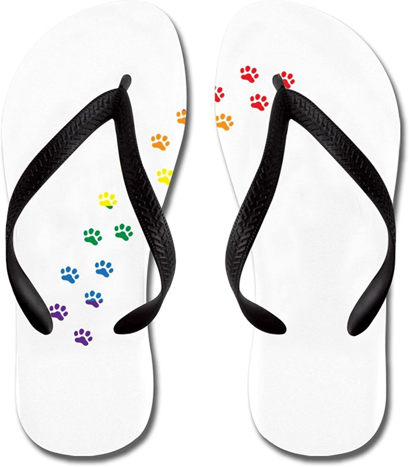 Lplpol Rainbow Paws Flip Flops for Kids and Adult Unisex Beach Sandals Pool Shoes Party Slippers
