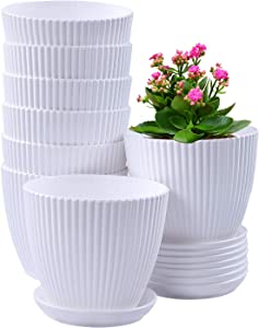6 Inch Plant Flower Pots Indoor Plastic Planters with Drainage Hole Set of 8 Modern Planting Pots Great for Plants, Herbs, African Violets, Foliage Plants, Crafts Home Decorations (White)
