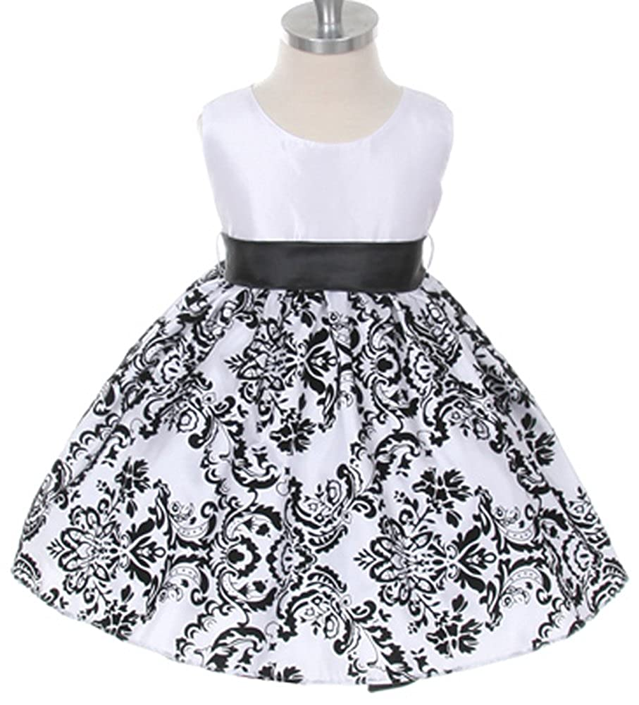 6c2dc25f6d18 Amazon.com: White with Black Velvet Special Occasion Dress with Sash -  INFANT TODDLER GIRLS: Clothing