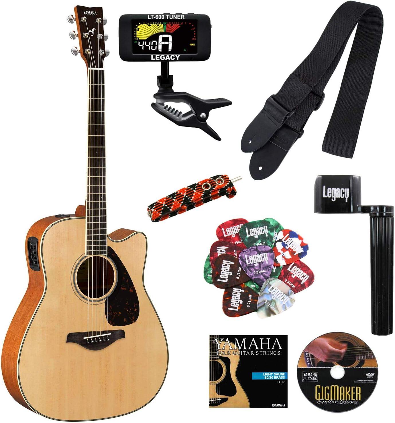 Yamaha fgx820 C Folk Guitarra acústica con cutaway guitarra eléctrica, parte superior sólida, Madera de caoba parte trasera y los laterales, con Legado accesorio Bundle, muchas opciones: Amazon.es: Instrumentos musicales