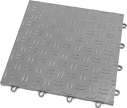 Amazon Com Incstores Diamond Grid Loc Garage Flooring Snap Together Mat Drainage Tiles 48 Pack Gunmetal Automotive