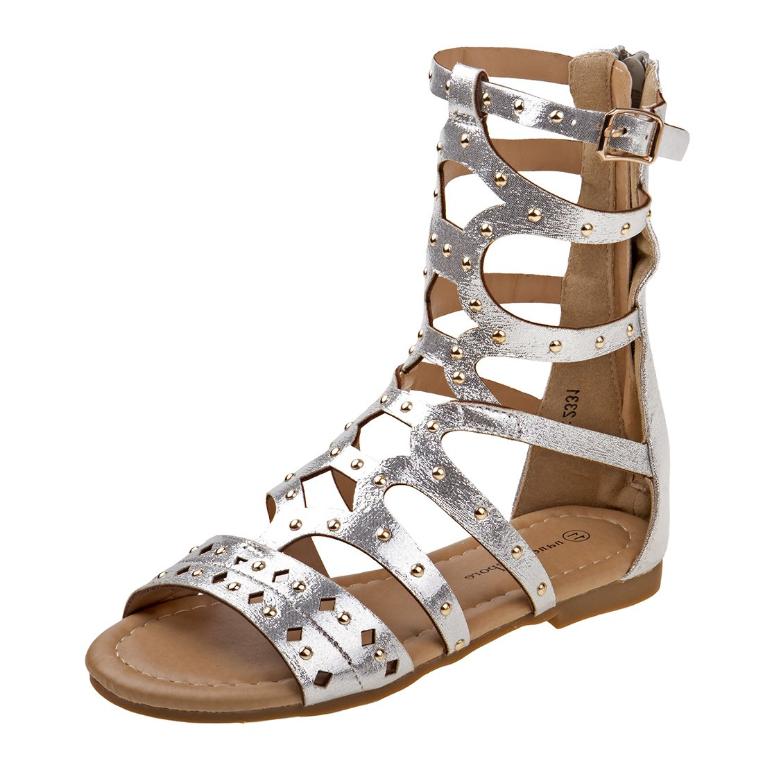 Nanette Lepore Girls Open Toe Gladiator Sandal With Studs, Silver, 13 M US Little Kid'