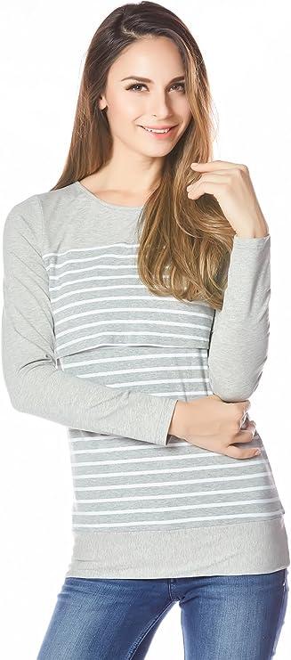 Bearsland Womens Maternity Sporty Hoodie Breastfeeding Shirt Nursing Sweatshirt with Pockets