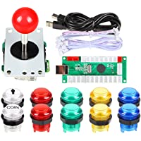 ORARE Zero Delay USB Encoder To PC Games Red Joystick + 10x LED Illuminated Push Buttons For Arcade Joystick DIY Kits Parts Mame Raspberry Pi 2 3