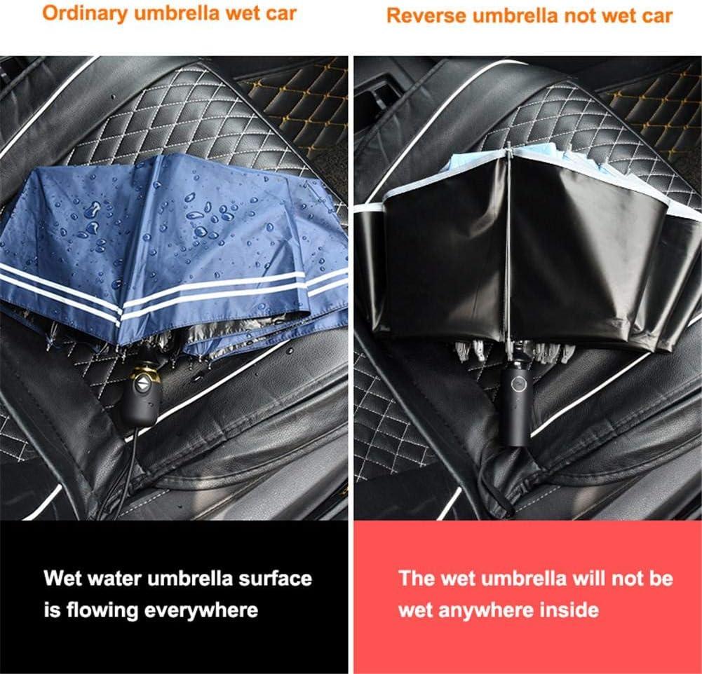 boastvi Parapluie Pliant Fermeture Automatique Invers/ée avec Fonction Coupe-Vent Bande R/éfl/échissante De Nuit 5 Couleurs Disponibles