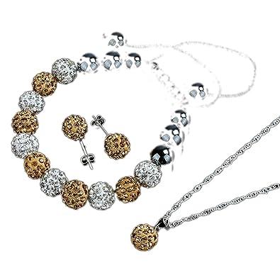 Bracelet Earrings Necklace Set - TOOGOO(R)Crystal Ball Jewelry Shamballa Bracelet Earrings Necklace Set New (Pink) hiYQmB