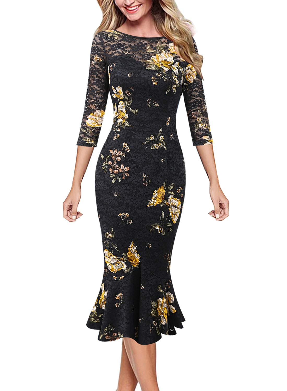 VFSHOW Womens Elegant Vintage Casual Cocktail Party Bodycon Mermaid Midi Mid-Calf Dress
