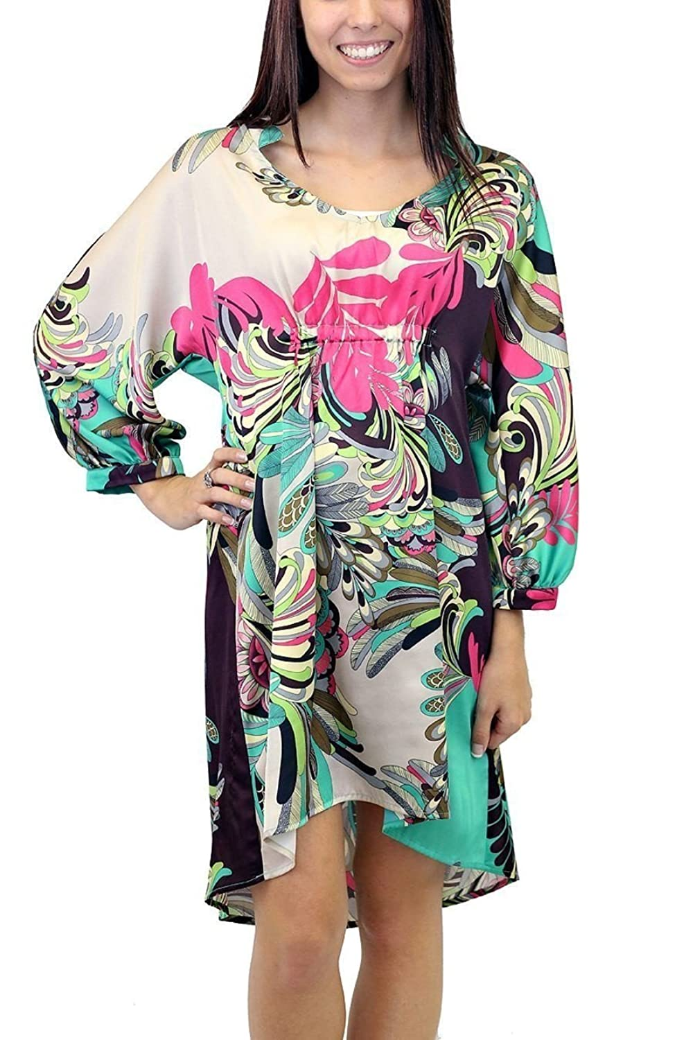Uncle Frank 34000 Floral Dolman Sleeve Hi Lo Dress