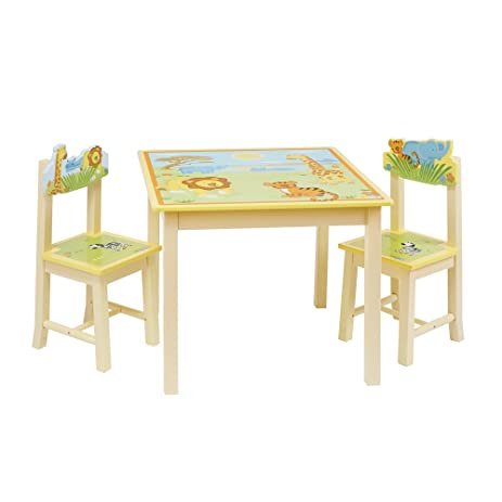 Guidecraft Wood Hand Painted Savanna Smiles Table U0026 Chairs Set G86802