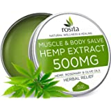 Hemp Salve - 500 mg - Herbal Pain Relief - Natural Hemp Extract & Rosemary & Olive Oils - Anti-Inflammatory - Relieves Arthristis, Back, Joint, Muscle, Knee Pain - Healing Hemp Balm - Made in USA
