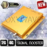 OXYWAVE Dual Band GSM 900/1800 MHz 2G+4G Universal Mobile Signal Booster Repeater Amplifier complete Set [For Voice Calling + 4G Data Internet] Booster