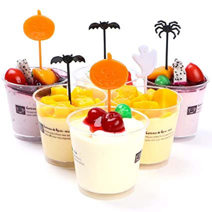 72 pieces plastic halloween toothpicks party decorationscupcake topper kits cake picks for halloween