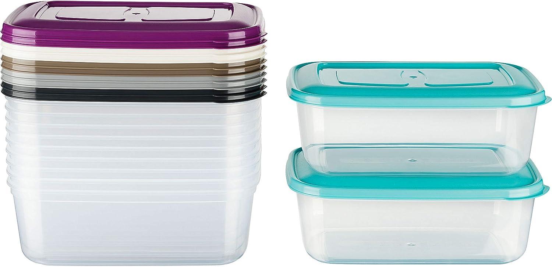 Kigima contenitore congelamento scatola di freschezza 460ml rettangolare set di 12 colorato