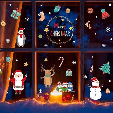 YWLINK Vinilos Decorativos NavideñOs Vinilos Decorativos para El Hogar Vinilos Decorativos De PVC Bonitos Etiqueta De Escaparate ÁRbol De Navidad Santa Claus DecoracióN De La Pared del Partido: Amazon.es: Hogar