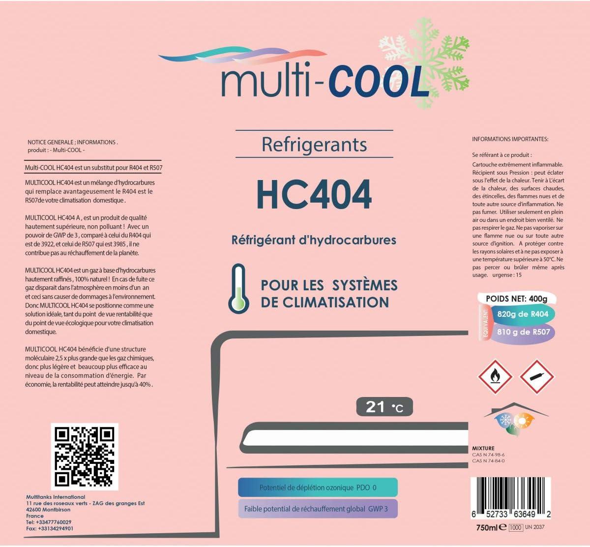 R502 et R404a Multitanks remplace le R22 R407C Canette R/éfrig/érant Multicool-404 de 400grs