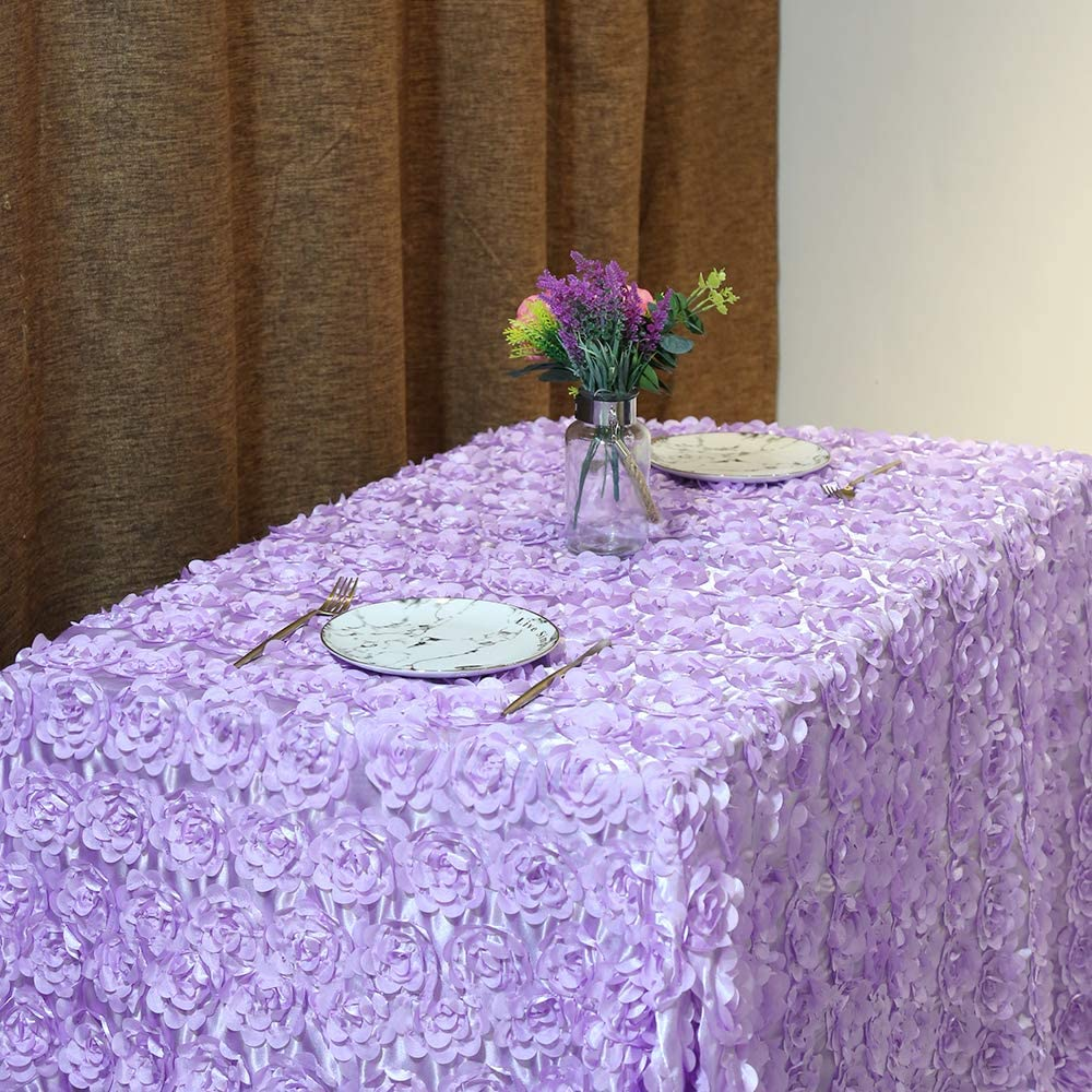 "50""x102"" Rosette Satin Tablecloth Lavender Rosette Tablecloth 3D Rosette Table Line Rectangle Table Cover Wedding Party Baby Shower Decor"