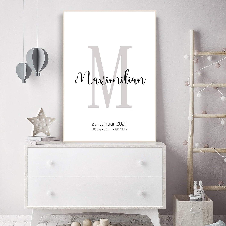 Babygeschenk Geschenk zur Geburt Taufe Junge Geburtsanzeige personalisiert f/ür Junge Buchstabe Poster mit Initialen