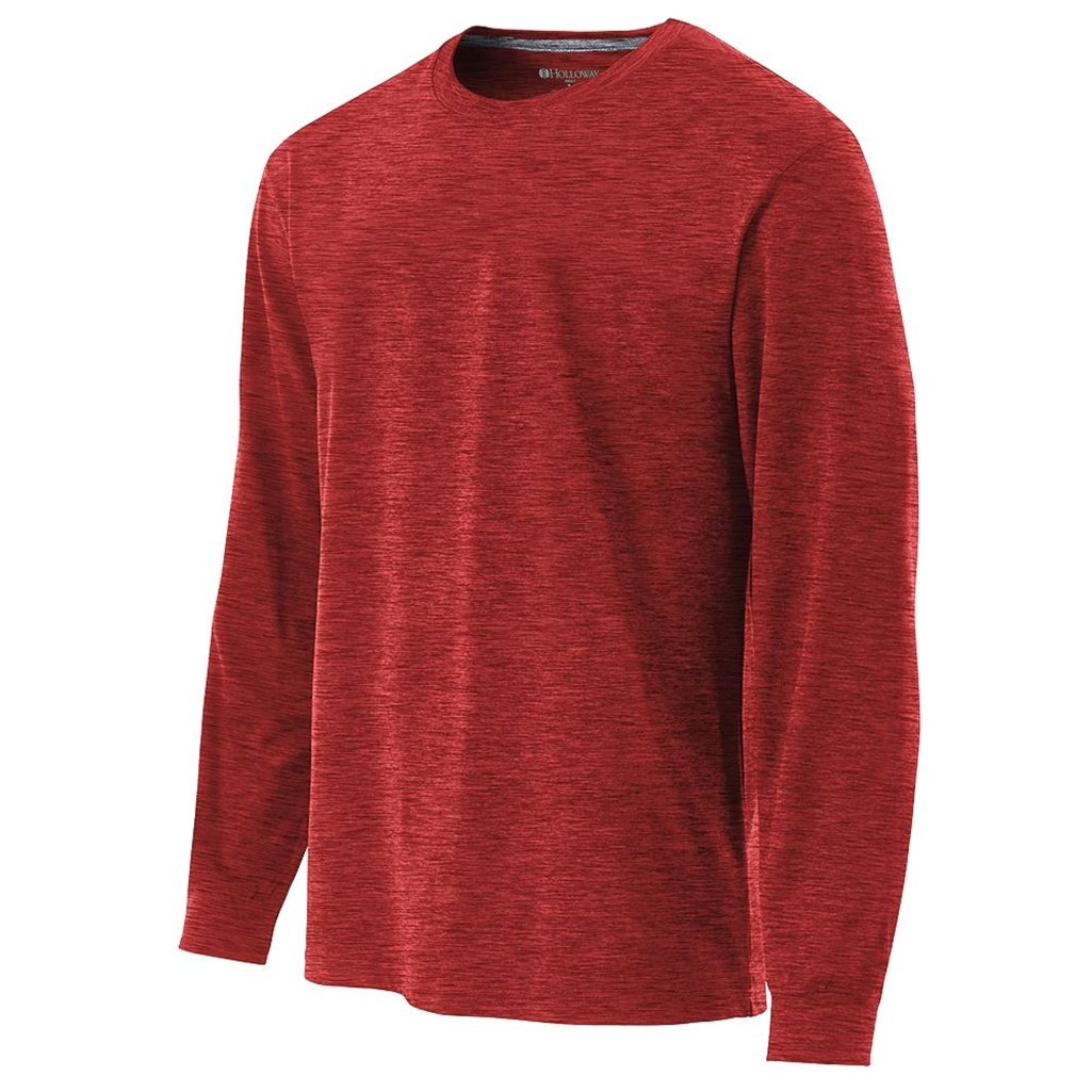 Holloway Youth Dry Electrify Long Sleeve Semi-Fitted Shirt (Medium, Scarlet Heather) by Holloway