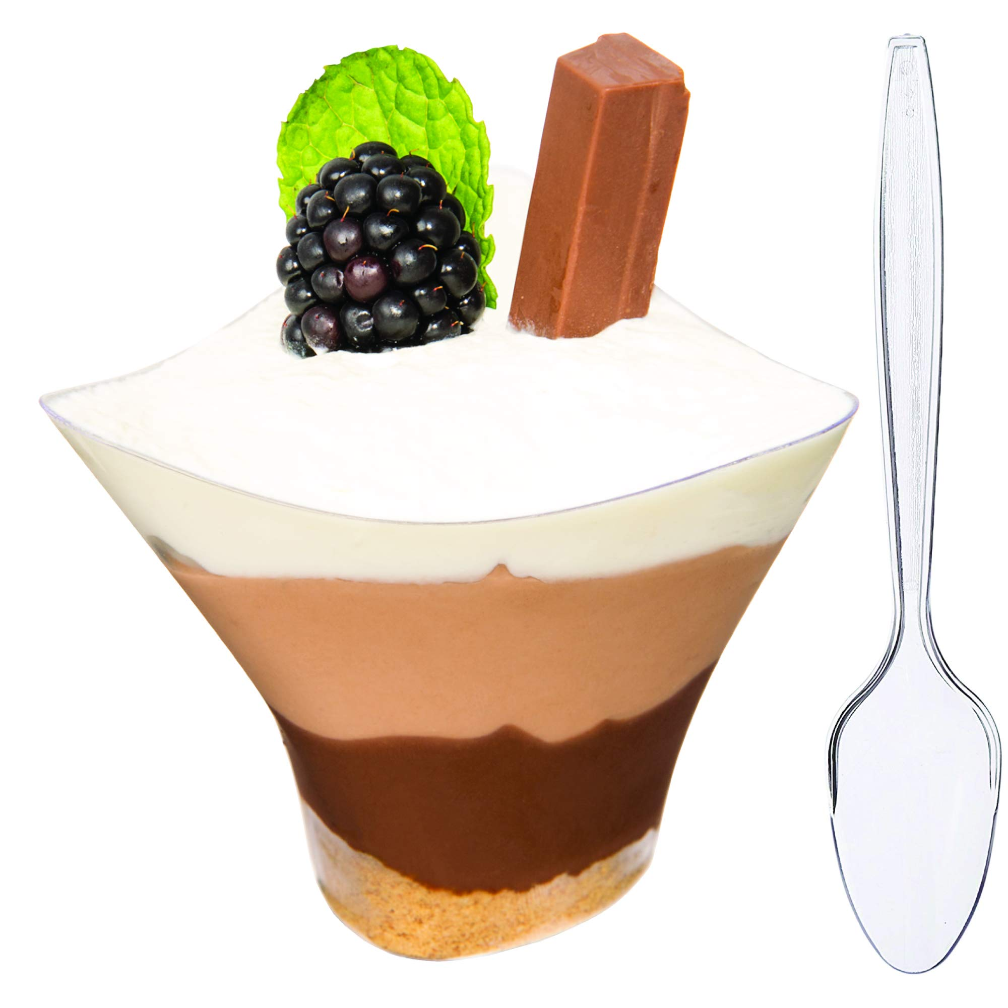DLux 60 x 5 oz Mini Dessert Cups with Spoons, Large Swirl - Clear Plastic Parfait Appetizer Cup - Small Disposable Reusable Serving Bowl for Tasting Party Desserts Appetizers - With Recipe Ebook