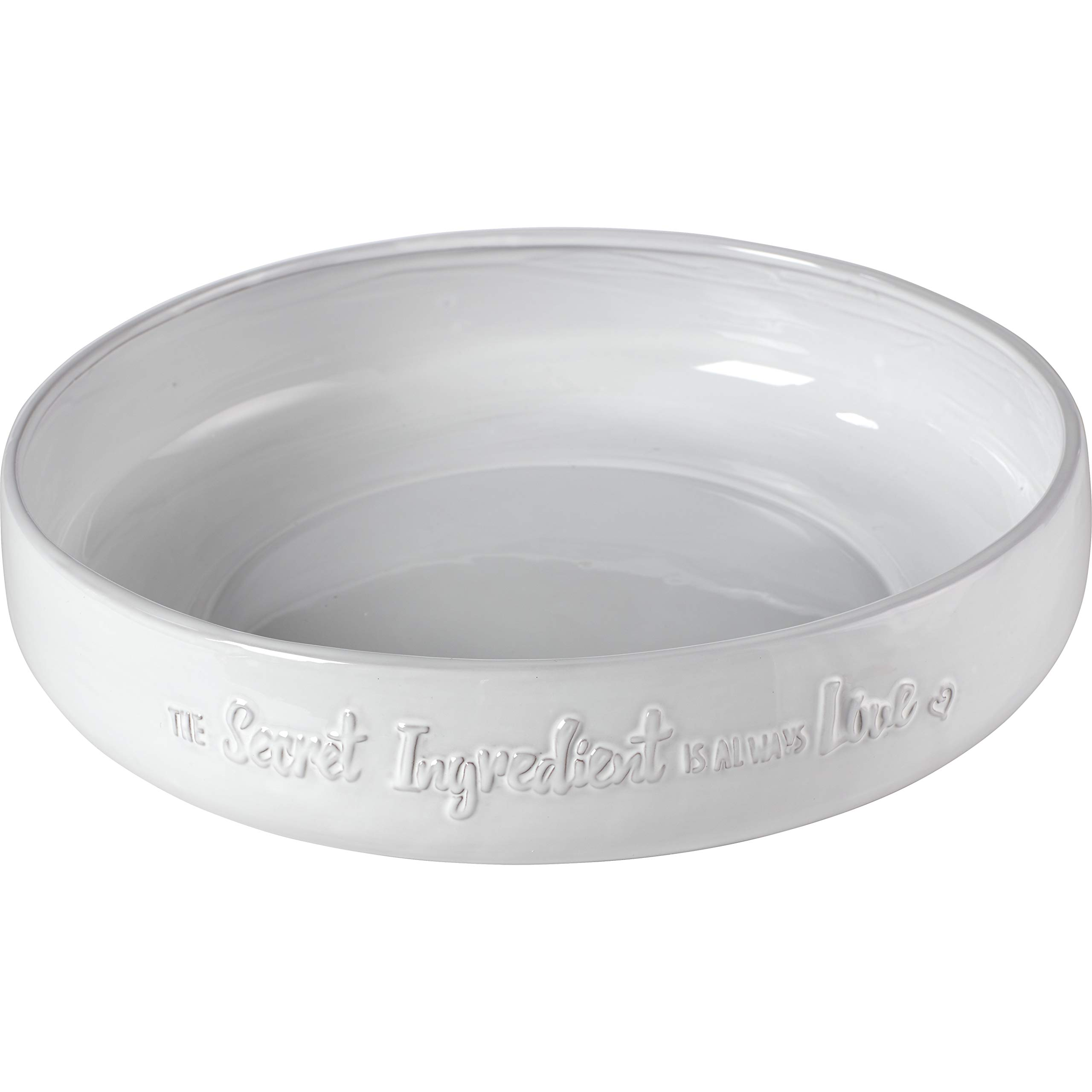 Bountiful Blessings by Precious Moments 189901 The Secret Ingredient is Always Love Round Serving Bowl, 12-inch Diameter, White/Cream