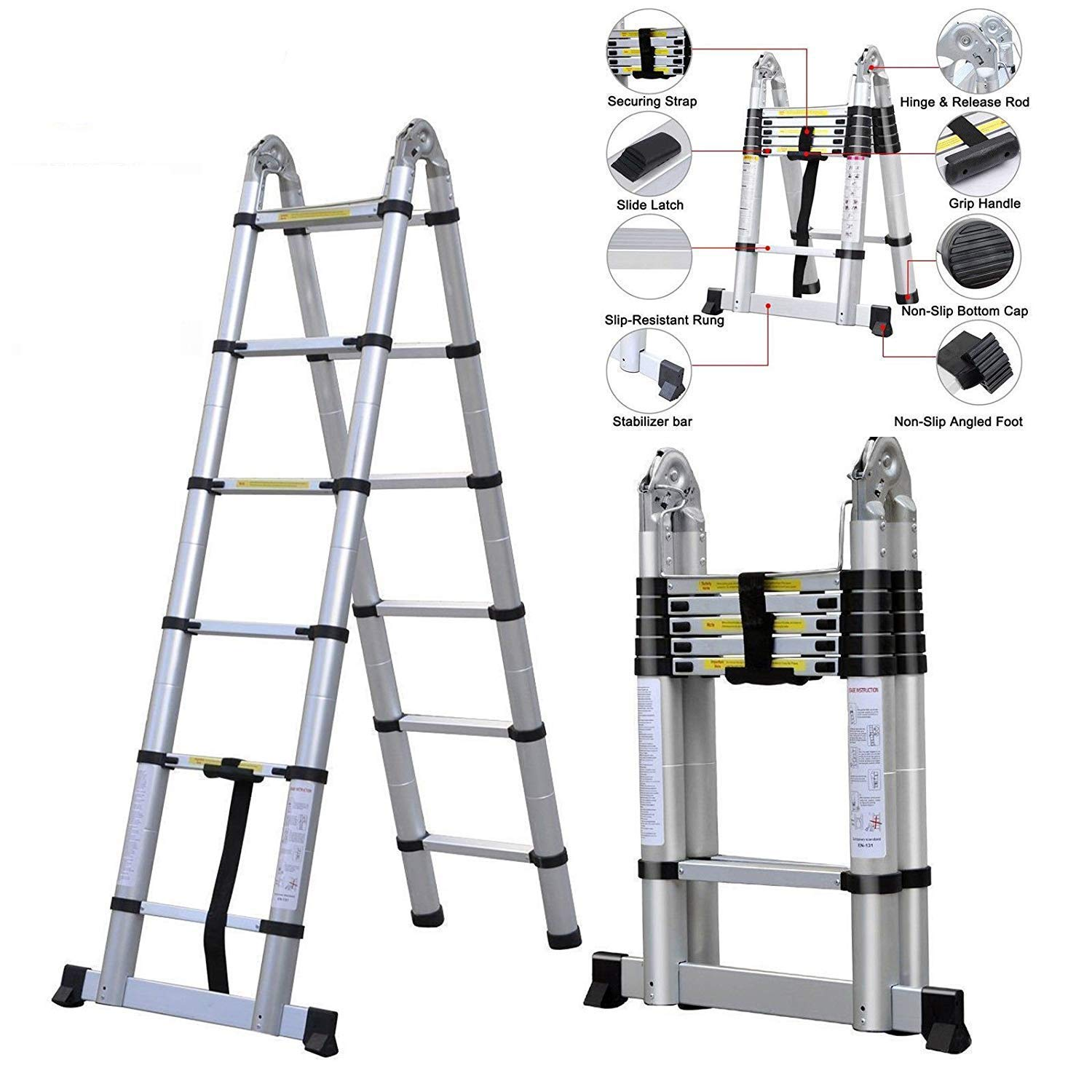 3.8M Multi-Purpose Aluminum Telescopic Ladder Portable Extendable A-Frame Ladder Heavy Duty Ladder - for Loft Indoor Outdoor Office House - Max 150kg - 12 Steps AutoBaBa