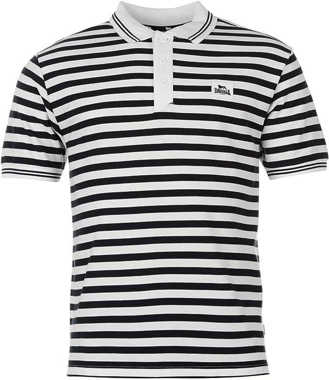 Lonsdale – Yarn Dye Polo de rayas camisa para hombre blanco ...