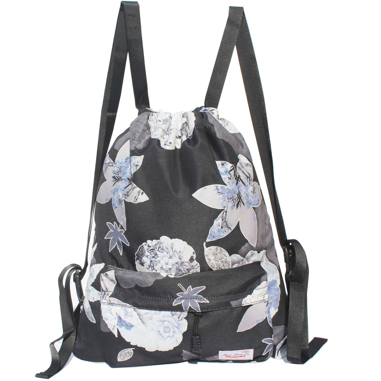 Drawstring Bag Original Floral Backpack for Travel School Gym Beach 2 Sizes