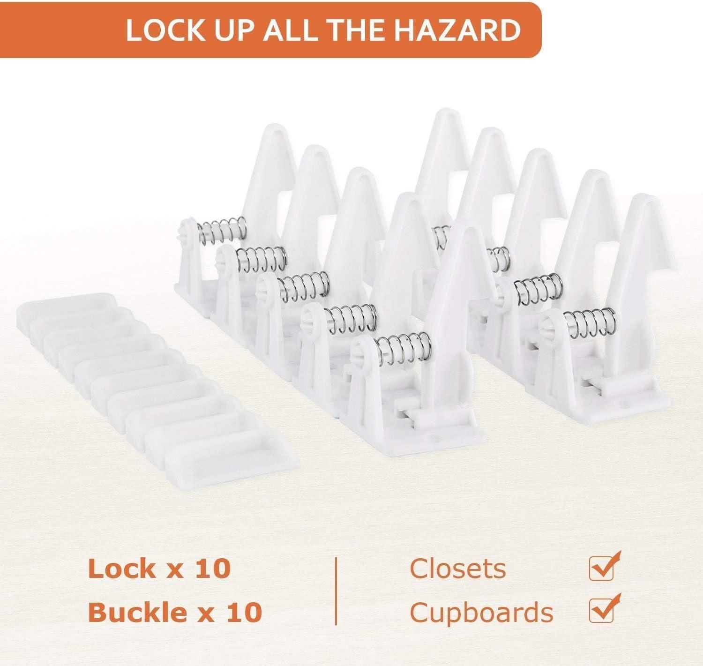 blanco dise/ño invisible Armario de seguridad para ni/ños paquete de 10 mantiene la belleza original de los muebles no necesita herramientas o perforaci/ón