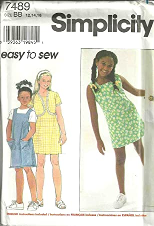 Girls Dress Or Jumper And Jacket (Simplicity Sewing Pattern 7489, Size: 12,