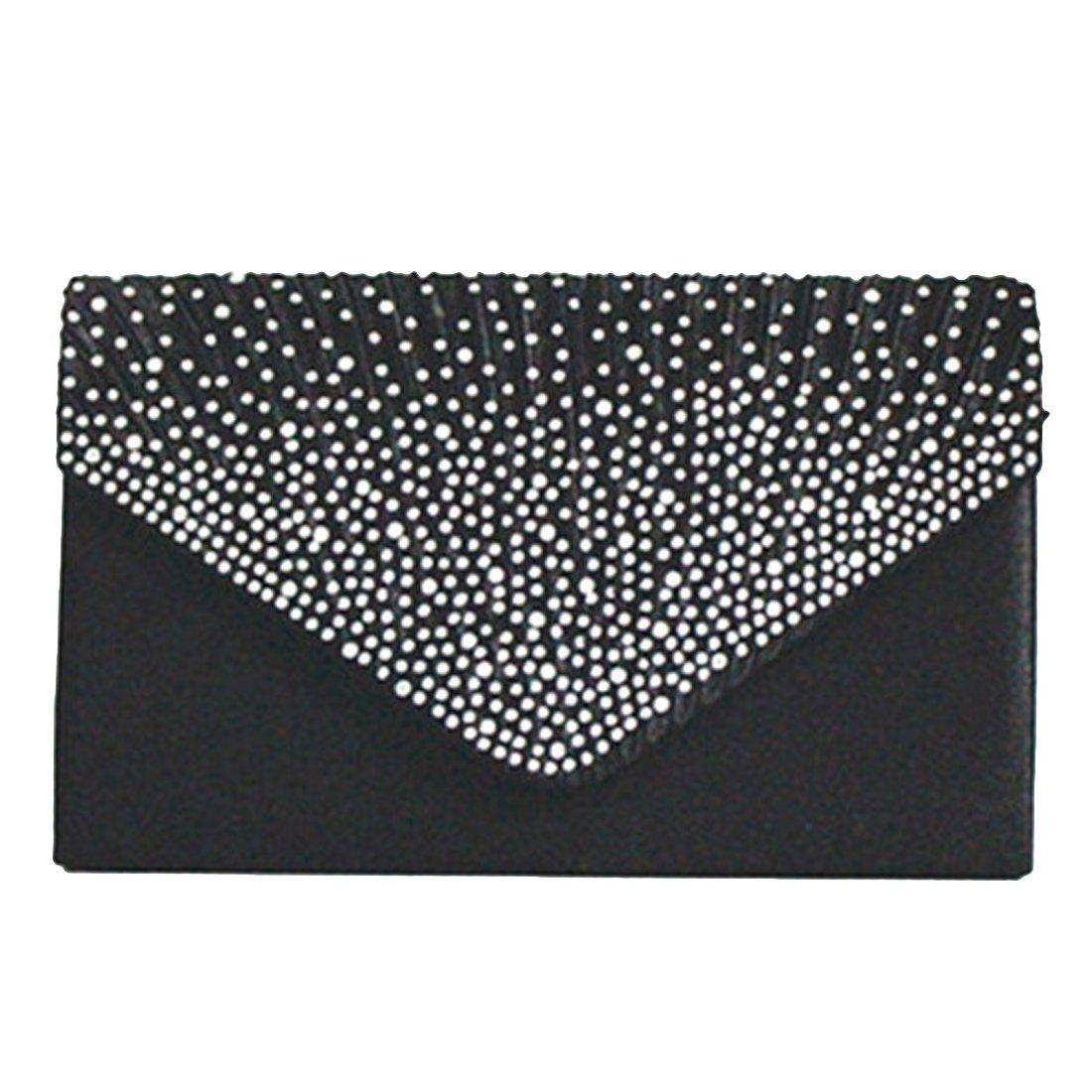 Women Evening Envelope Rhinestone Frosted Handbag Party Bridal Clutch Purse for Wedding Ladies Ideal Gift (Black)
