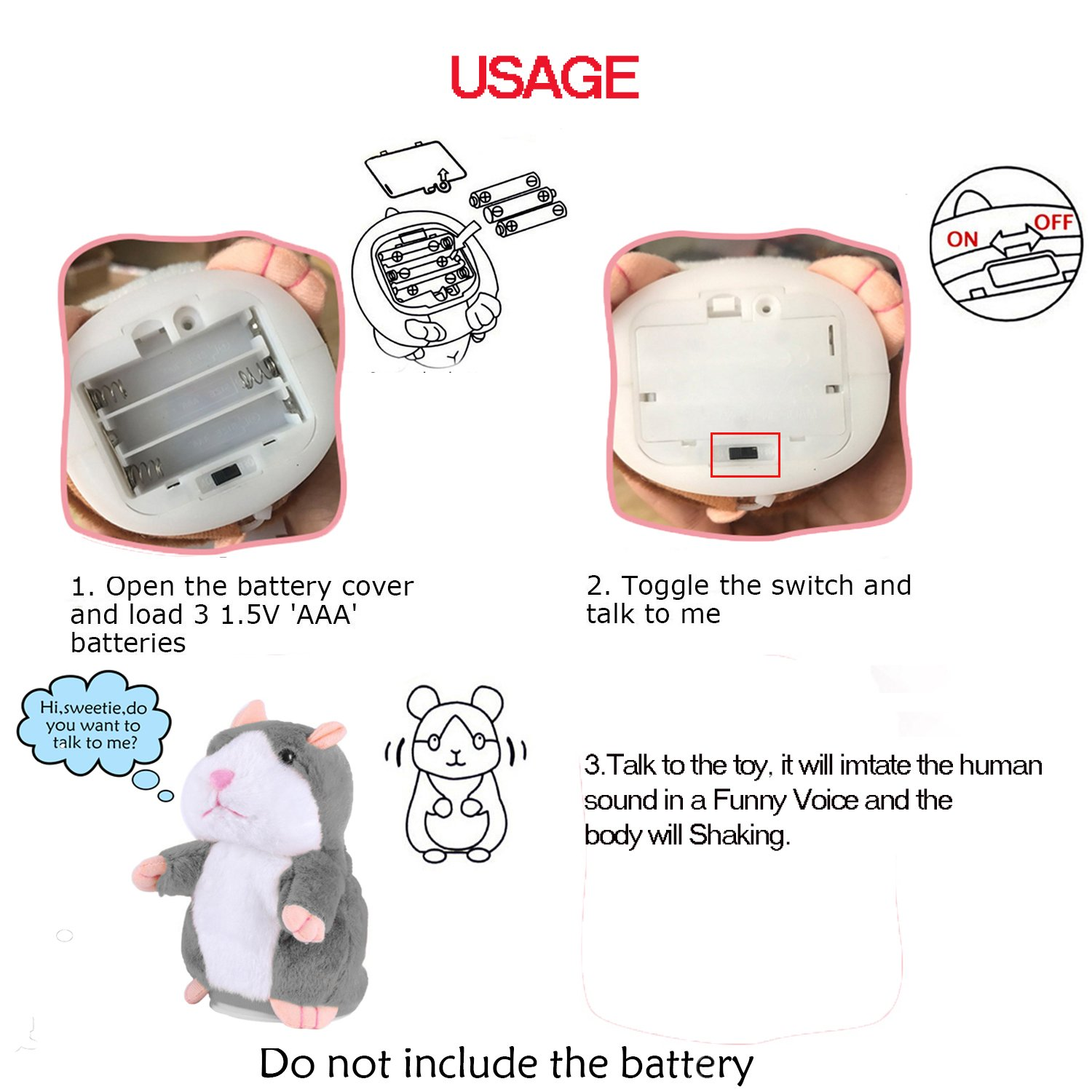 4facea5c76 Amazon.com  Electronic Mimicry Talking Hamster Toys - Soft Stuffed Pet  Mouse Funny Plush Interactive Toy For Kids Toddler Adults Lovers